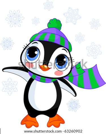 Illustration of cute winter penguin with hat and scarf  pointing - stock vector