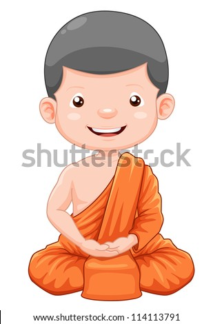 illustration of Cute young monk cartoon - stock vector