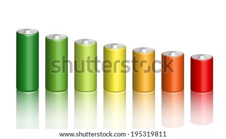 Illustration of 3d battery energy efficiency - stock vector