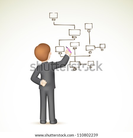 illustration of 3d business man in vector drawing flow chart - stock vector