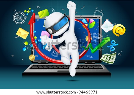 illustration of 3d businessman in vector fully scalable coming out of laptop - stock vector