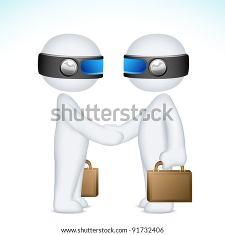 illustration of 3d businessmen in vector fully scalable handshaking for deal - stock vector
