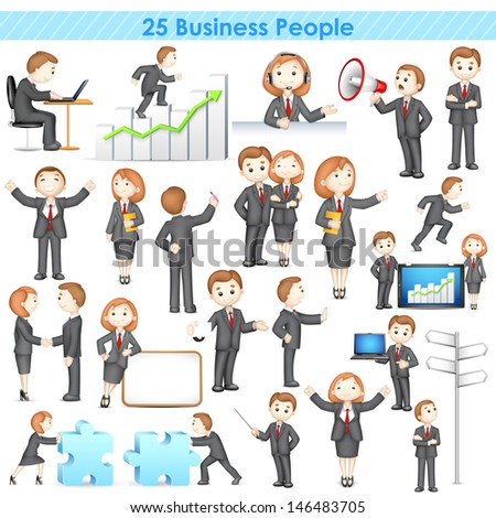 illustration of 3d businesspeople collection doing different activities - stock vector
