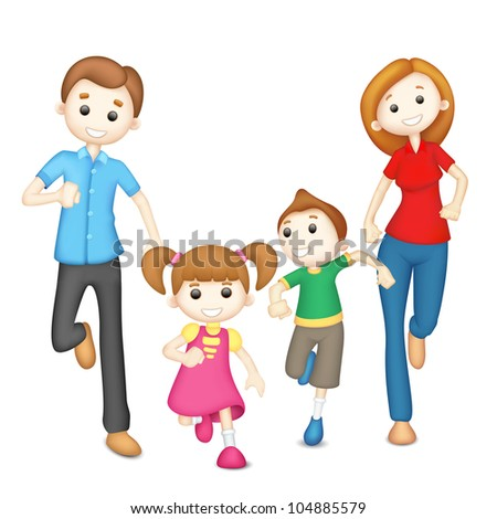 illustration of 3d family in vector in playful mood - stock vector