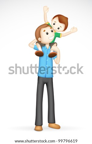 illustration of 3d father giving boy piggy back ride in fully scalable vector - stock vector