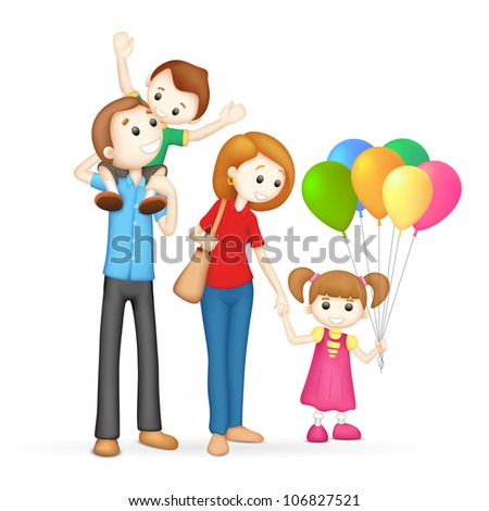 illustration of 3d happy family in vector fully scalable - stock vector
