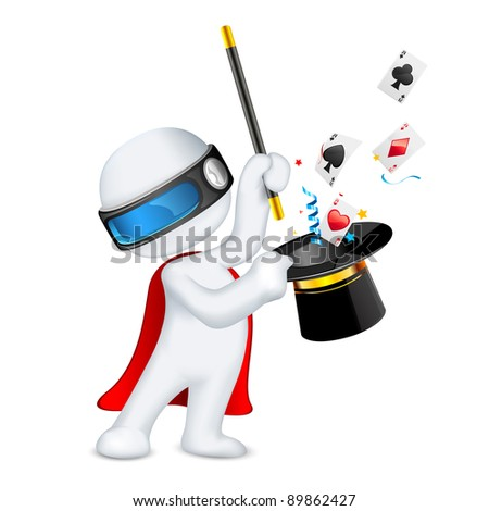 illustration of 3d magician in vector fully scalable showing magical trick - stock vector