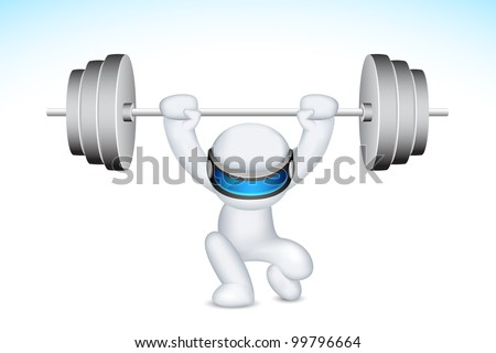 illustration of 3d man in fully scalable vector lifting weights