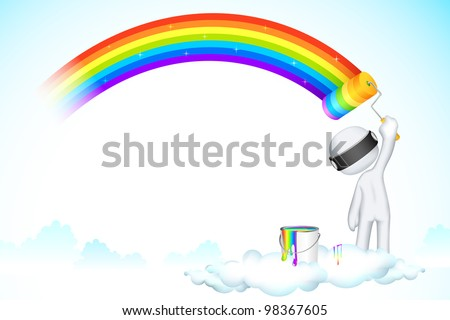 illustration of 3d man in scalable vector painting rainbow on clouds - stock vector