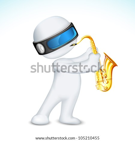 illustration of 3d man in vector fully scalable blowing saxophone - stock vector