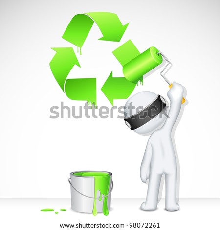 illustration of 3d man in vector fully scalable painting recycle symbol - stock vector