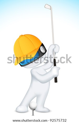 illustration of 3d man in vector fully scalable playing golf - stock vector