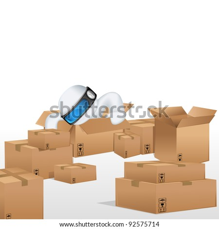 illustration of 3d man in vector fully scalable sitting in cardboard box for cargo - stock vector