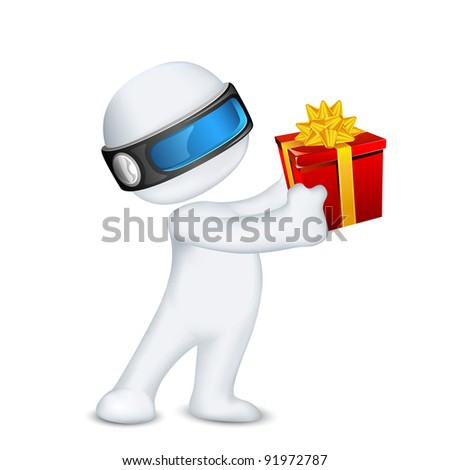 illustration of 3d man in vector fully scalable standing with gift box - stock vector