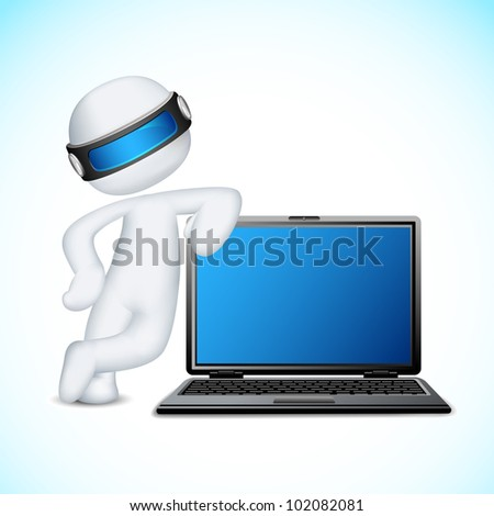 illustration of 3d man in vector fully scalable standing with notebook - stock vector