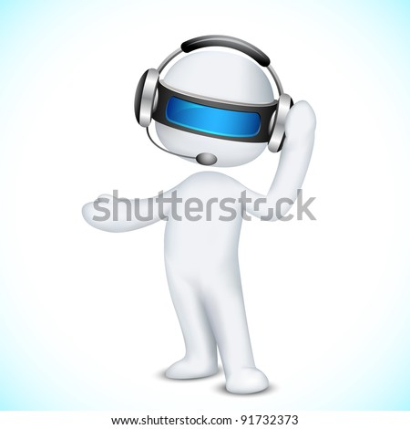 illustration of 3d man in vector fully scalable talking on headphone in call center - stock vector