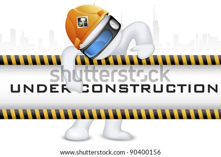 illustration of 3d man in vector fully scalable wearing hard hat on under construction signboard - stock vector