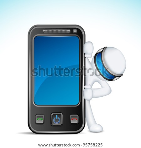 illustration of 3d man in vector fully scalable with mobile phone