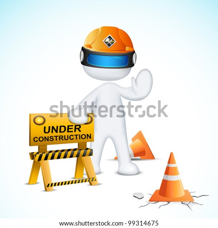 illustration of 3d man in vector fully scalable with under construction element - stock vector