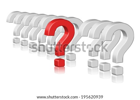 Illustration of 3d question marks
