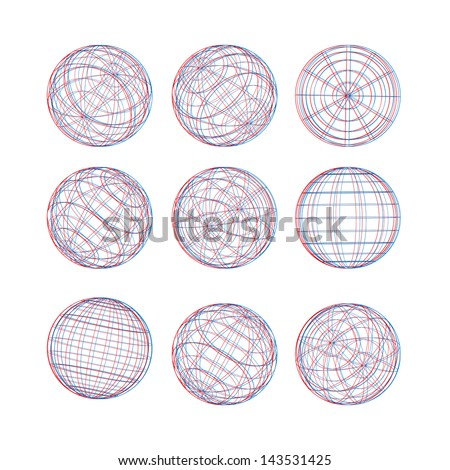 Illustration of 3D sphere vector template. Abstract globe logo symbol, isolated round icon, business concept .You can use science and technology, media, 3D or environmental background. - stock vector