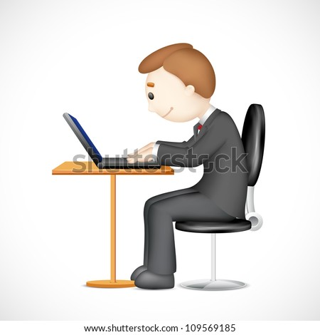 illustration of 3d vector man working on laptop - stock vector