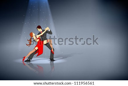 illustration of dancer performing salsa under spot light - stock vector