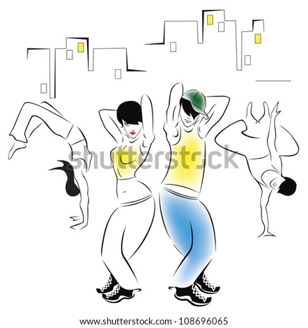 Illustration of dancing young people in the background of the urban landscape - stock vector