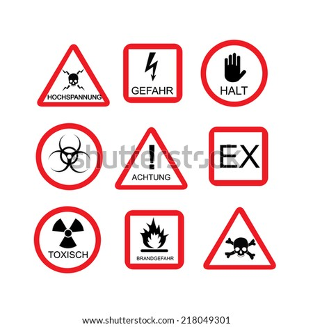 Illustration of danger sign, risk, dangerous situation, caution, warning, hazard, safety, warning sign, german text - stock vector