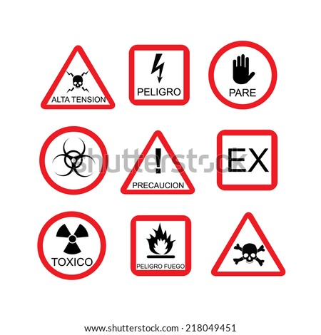 Illustration of danger sign, risk, dangerous situation, caution, warning, hazard, safety, warning sign, spanish text - stock vector