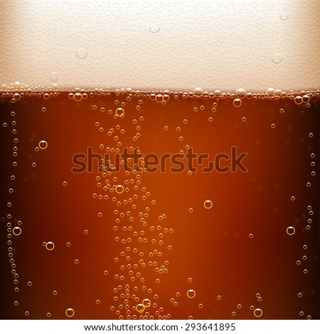 illustration of dark beer background with a lot of bubbles - stock vector