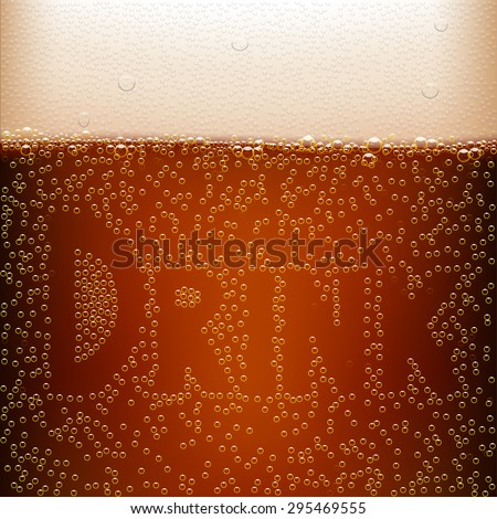 illustration of dark beer background with word drink - stock vector