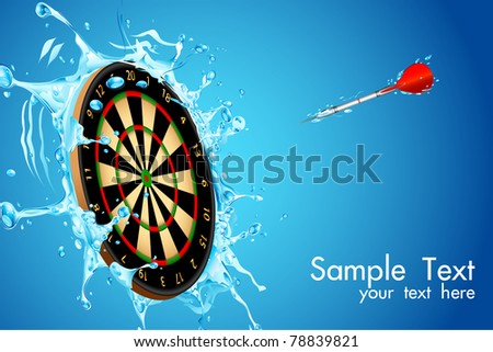 illustration of dart board with arrow in splashing water - stock vector