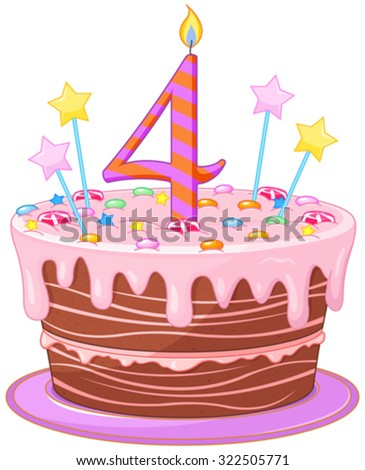 Illustration of decorated birthday cake - stock vector