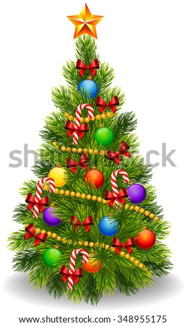 Illustration of decorated Christmas tree isolated on white background - stock vector