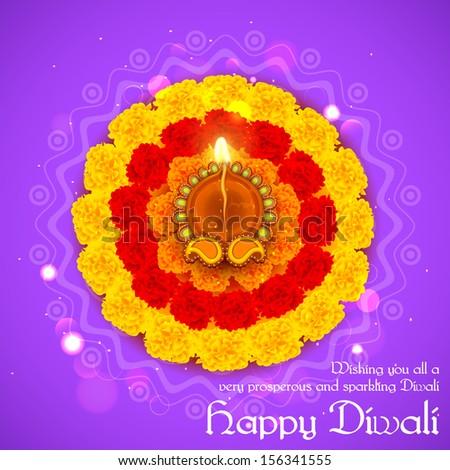 illustration of decorated Diwali diya on flower rangoli - stock vector