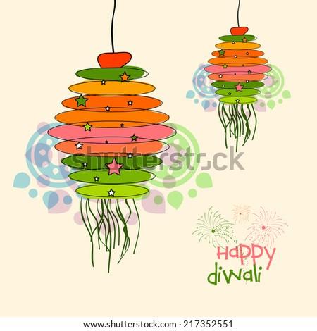 Illustration of Decorative diwali Kandil for diwali festival. - stock vector