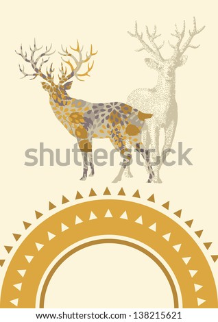 Illustration of deer with floral pattern - stock vector