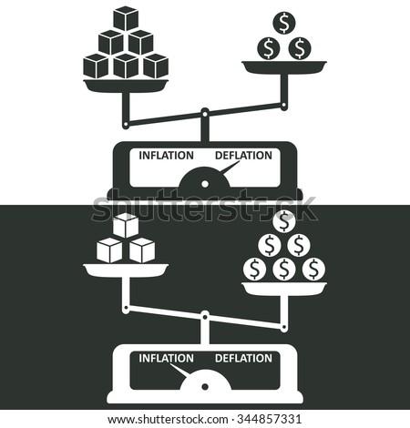 illustration deflation inflation stock vector 344857331 shutterstock. Black Bedroom Furniture Sets. Home Design Ideas