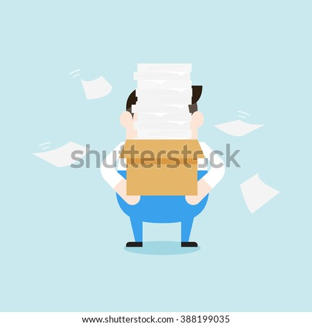 Illustration of delivery man carrying a lots of paper in a box. Vector illustration flat style. - stock vector