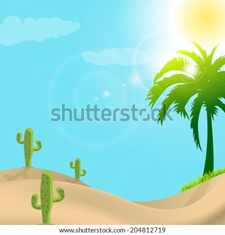 illustration of desert scene in day light - stock vector