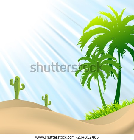 illustration of desert scene with palm tree,cactus, sand dunes - stock vector
