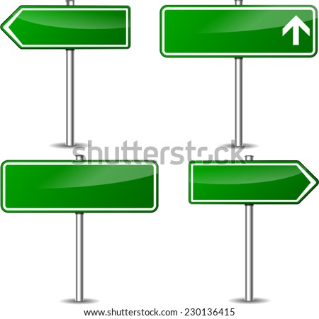 illustration of design green road signs set - stock vector