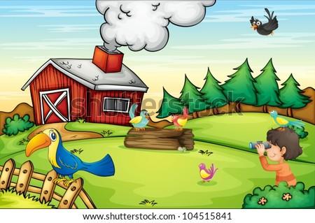 Illustration of detailed farm scene - stock vector