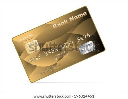 illustration of detailed glossy gold credit card  - stock vector