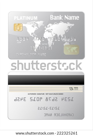 Illustration of detailed glossy platinum credit card isolated on white background - stock vector