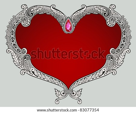 Illustration of detailed heart shape design - stock vector