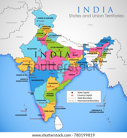 illustration of detailed map of India, Asia with all states and country boundary
