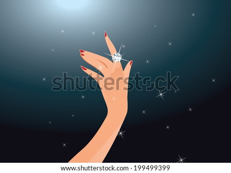 Illustration of diamond ring on woman finger - stock vector
