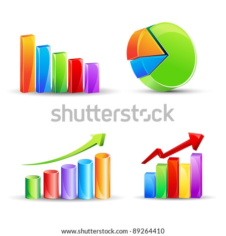 illustration of different bar graph and pie chart - stock vector